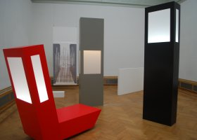 Black, White, two Gray to Red, Lichtinstallatie _ objecten, Plexiglas en Forex