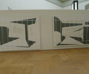 (rechts beeld)M 179, (links beeld) M 181, papier, potloot, sticker en Acrylaat